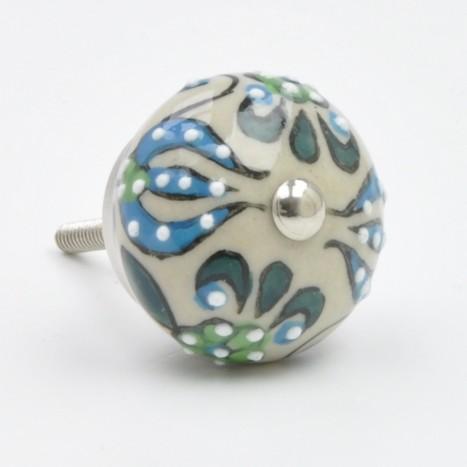 Tasteful Floral Ceramic Knob