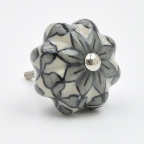 Grey Flower Drawer Knob