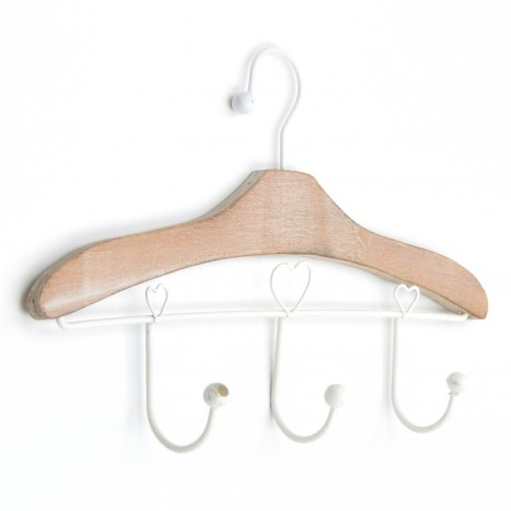 Heart Hanger Coat Rack - Natural Wood
