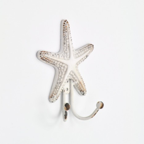 White Coastal Starfish Wall Hook