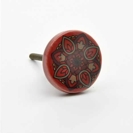 Dark Red Ceramic Knob