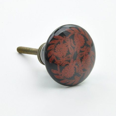 Black & Red Flower Knob
