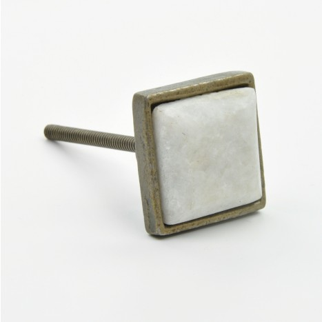 Square Metal & White Marble Knob