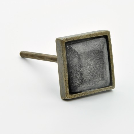 Square Metal & Black Marble Knob