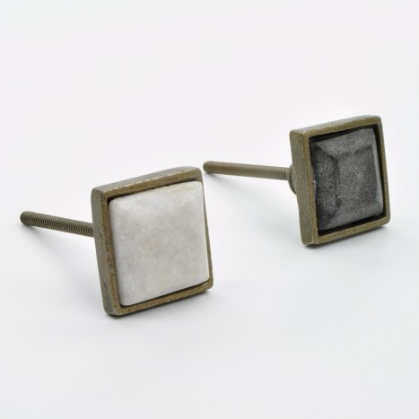 Square Metal & Marble Knob