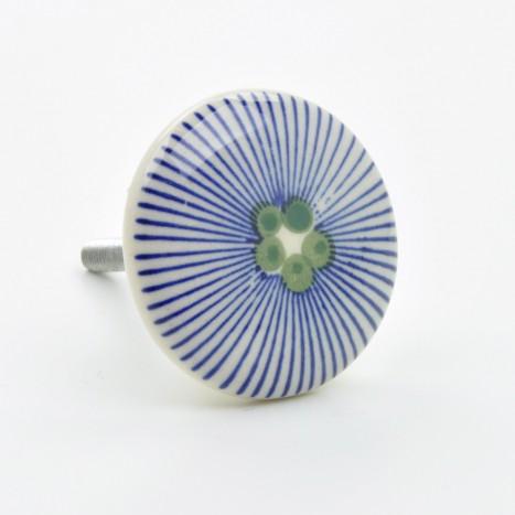 Round Blue Ceramic Knob