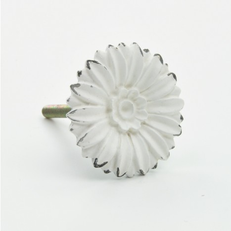 Delicate White Metal Flower Knob