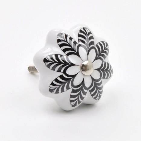 Black & White Flora Cupboard Knob