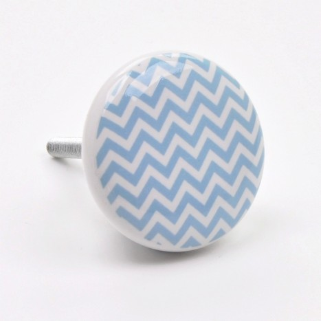 Zig Zag Ceramic Cupboard Knob - Blue