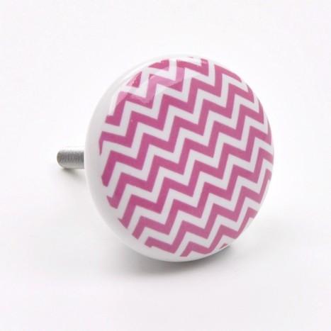 Zig Zag Ceramic Cupboard Knob - Pink