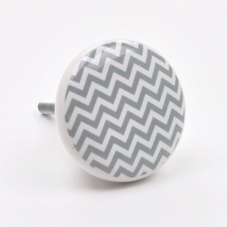 Zig Zag Ceramic Cupboard Knob - Grey