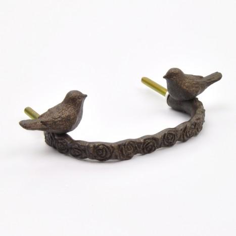 Bird Branch Drawer Handle - Antique Brass