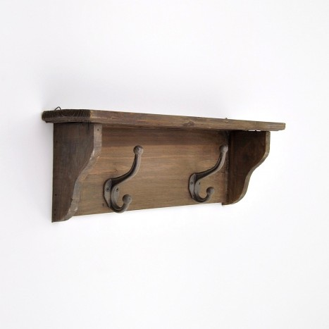 Rustic Cabin Wall Shelf With Hooks