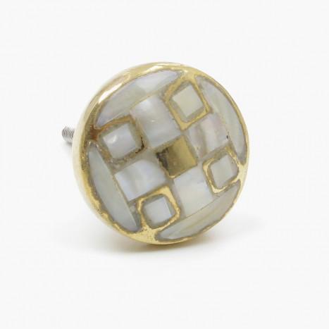 Crosshatch Pearl & Brass Cupboard Knob