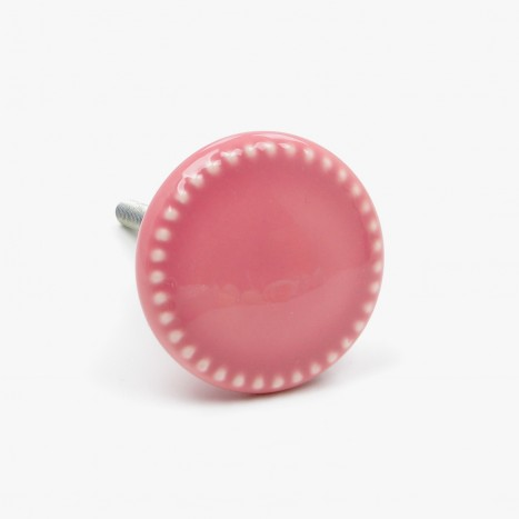 Pink Rosa Button Cupboard Knob - Large