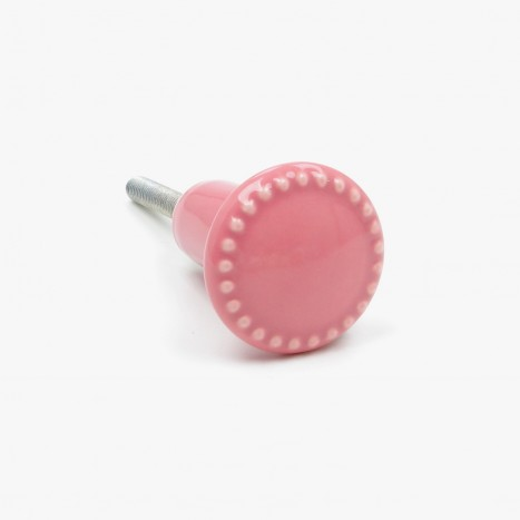 Pink Rosa Button Cupboard Knob - Small