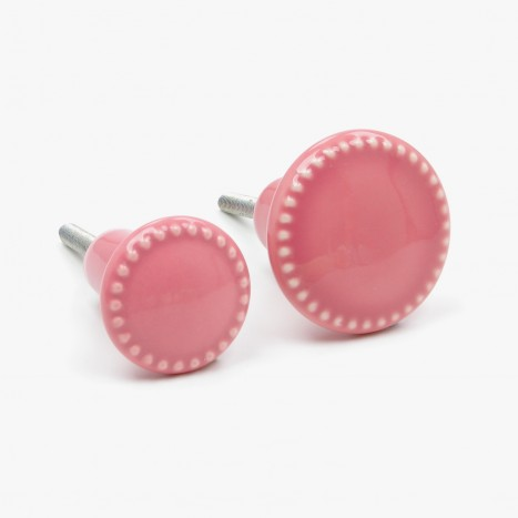 Pink Rosa Button Cupboard Knob