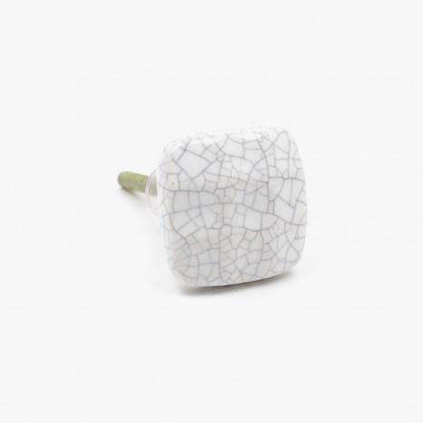 Crackled Pebble Ceramic Cupboard Knob - White
