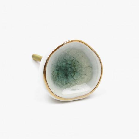 Ceramic Glass Cupboard Knob - Green