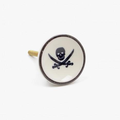 Sea Life Drawer Knob - Skull & Crossbow (H)