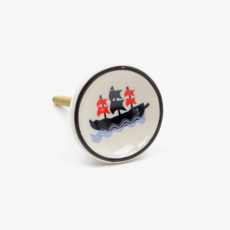 Sea Life Drawer Knob - Pirate Boat (F)