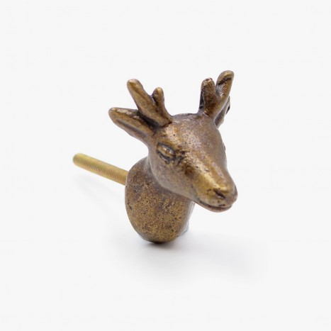 Brassy Stag Head Drawer Knob