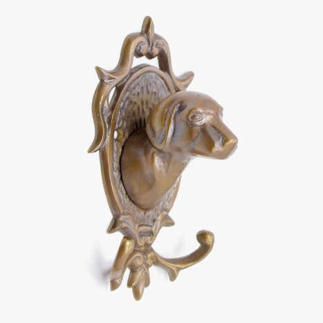 Head Hound Coat Hook - Antique Brass