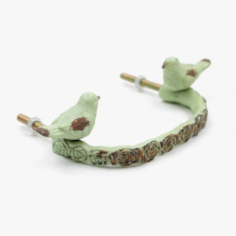 Bird Branch Drawer Handle - Green