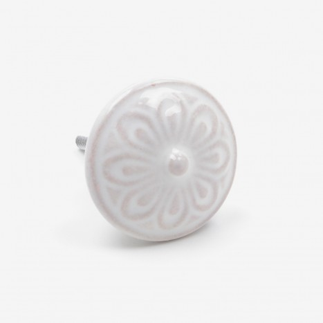 Whitewash Ceramic Drawer Knob - Cream