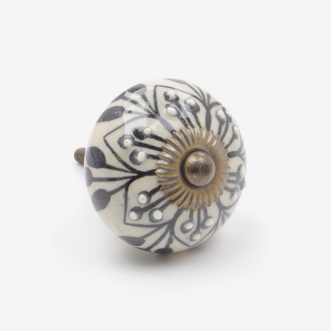 Cotton Drop Ceramic Cupboard Knob
