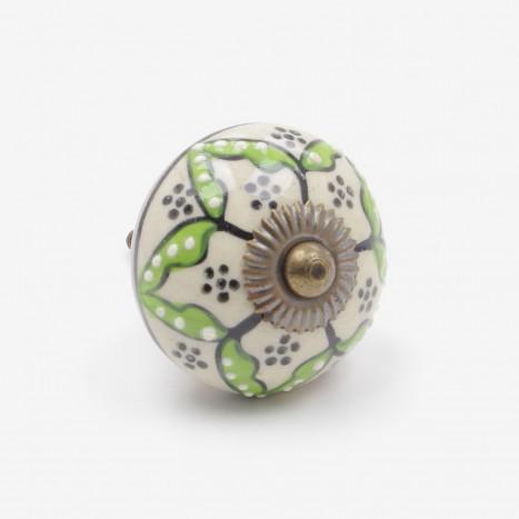Flower Spots Ceramic Cupboard Knob - Green