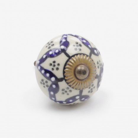 Flower Spots Ceramic Cupboard Knob