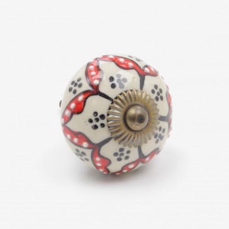Flower Spots Ceramic Cupboard Knob - Red