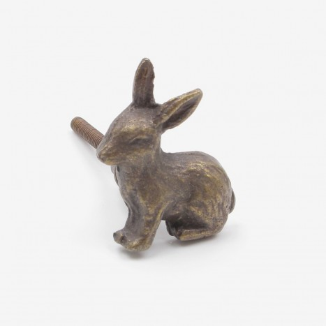 Bunny Ore Cupboard Knob - Antique Brass