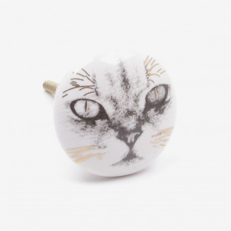 Feline Face Cupboard Knob