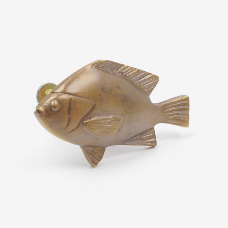 Fat Fish Cupboard Knob - Antique Brass