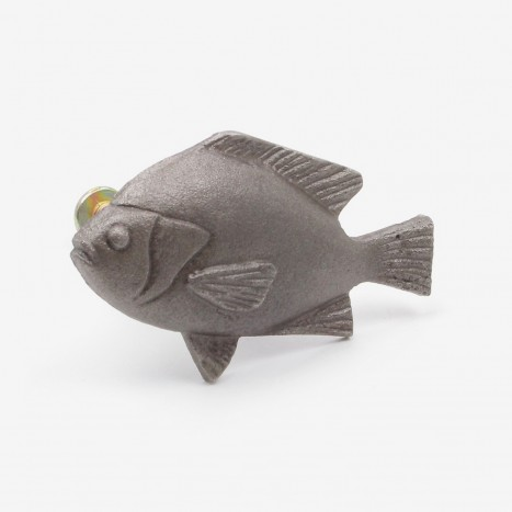 Fat Fish Cupboard Knob - Plain Metal Grey