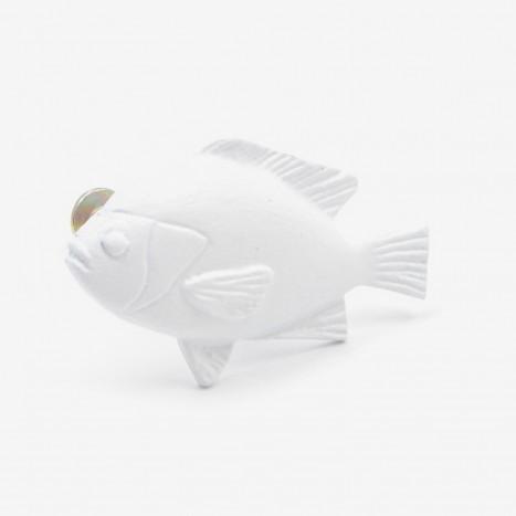 Fat Fish Cupboard Knob - White