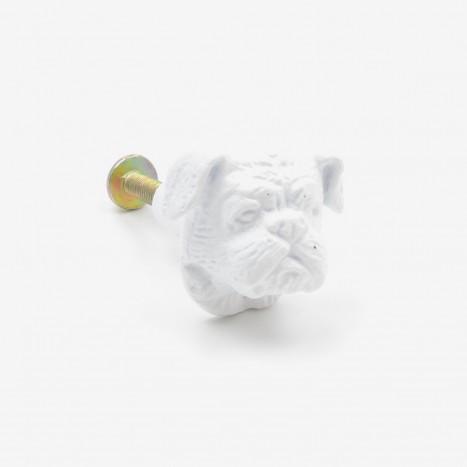 British Bulldog Cupboard Knob - White
