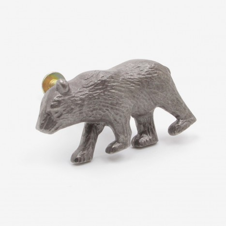 Prowling Bear Cupboard Knob - Plain Metal Grey