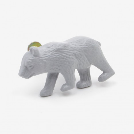 Prowling Bear Cupboard Knob - Grey