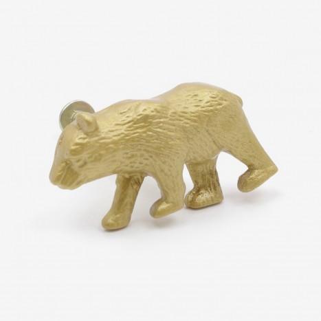 Prowling Bear Cupboard Knob - Gold