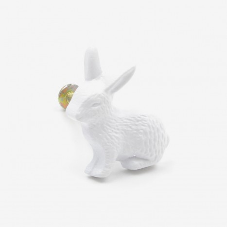 Country Rabbit Cupboard Knob - White