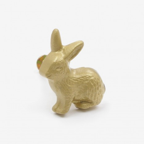 Country Rabbit Cupboard Knob - Gold