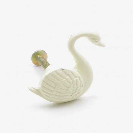 Swimming Swan Cupboard Knob - Cream