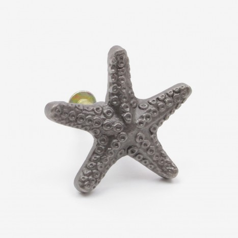 Seaside Starfish Cupboard Knob - Plain Metal Grey