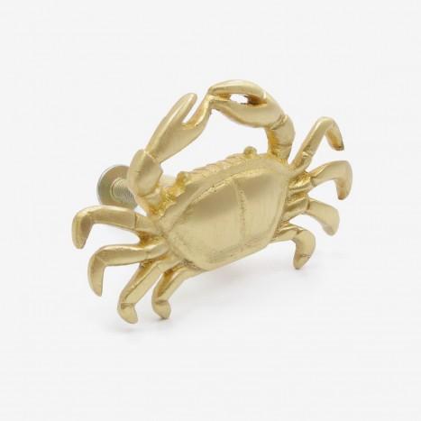 Coastal Crab Cupboard Knob - Polished Brass