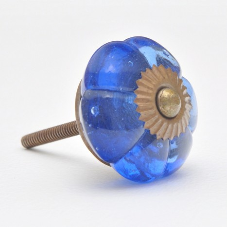 Blue Glass Flower Knobs