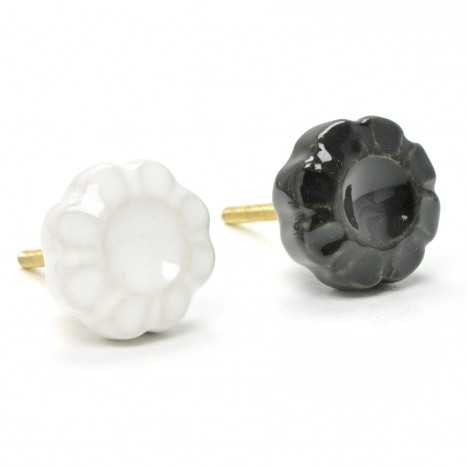 Black and White Ceramic Knobs