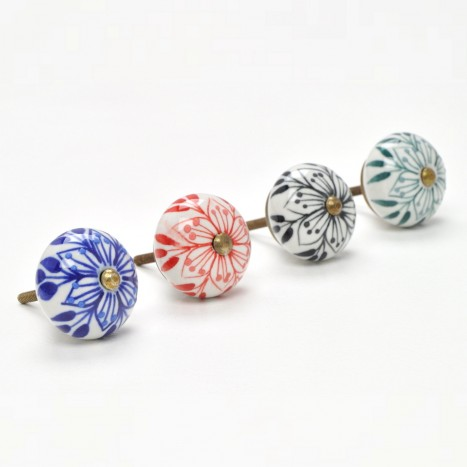 Black Dotted Flower Ceramic Knobs
